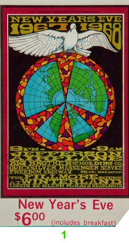 Jefferson Airplane 1960s Ticket
