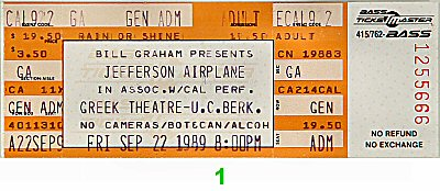 Jefferson Airplane 1980s Ticket