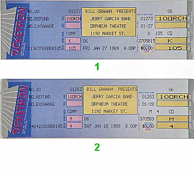 Jerry Garcia Band1980s Ticket