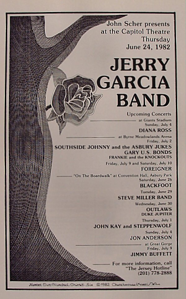 Jerry Garcia Band Program Capitol Theatre Passaic Nj