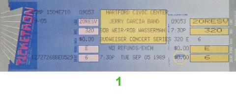 Bob Weir Vintage Ticket