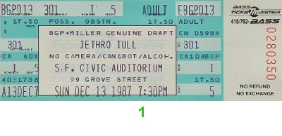 Jethro Tull 1980s Ticket