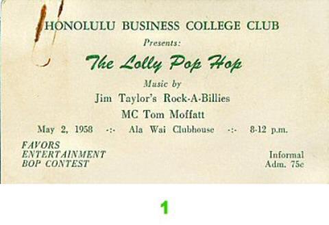 Jim Taylor's Rock-A-Billies Vintage Ticket