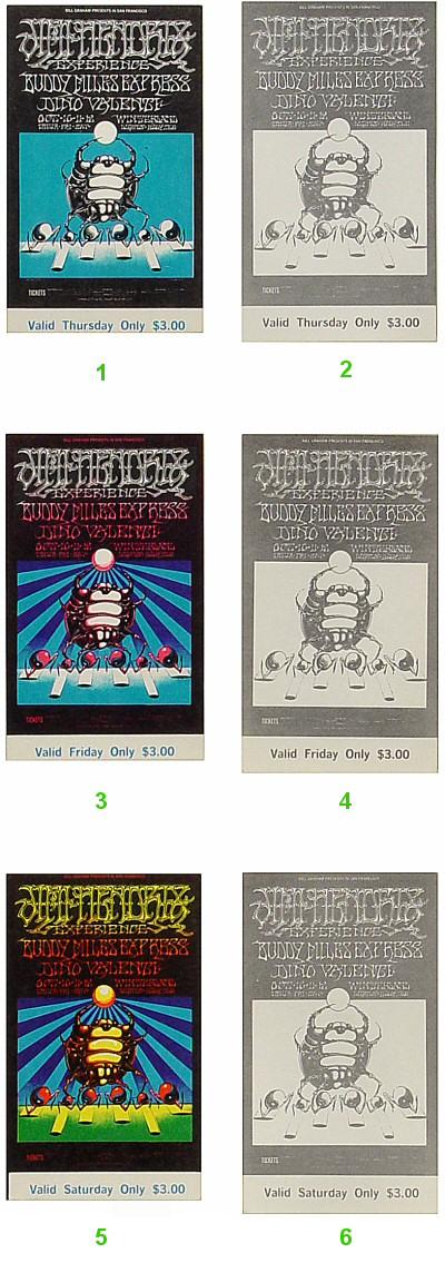 Jimi Hendrix Experience1960s Ticket