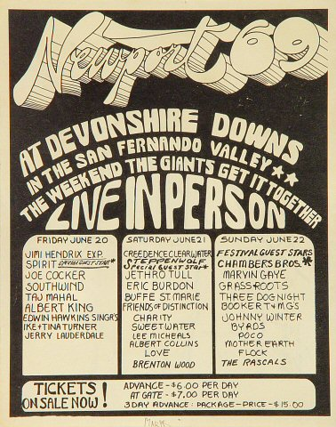 Newport Pop Festival Handbill Devonshire Downs Devonshire