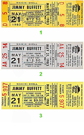 Jimmy Buffett 1980s Ticket