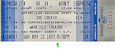 Joe Cocker1980s Ticket