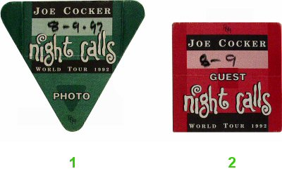 Joe Cocker Backstage Pass