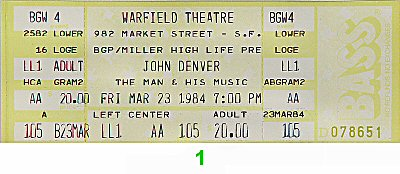 John Denver 1980s Ticket