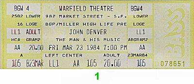 John Denver1980s Ticket