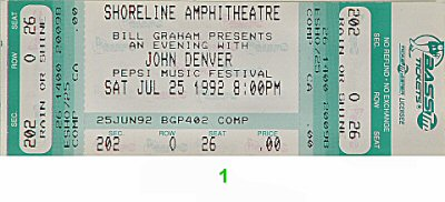 John Denver 1990s Ticket