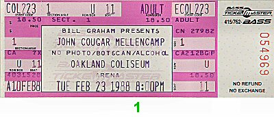John Mellencamp 1980s Ticket