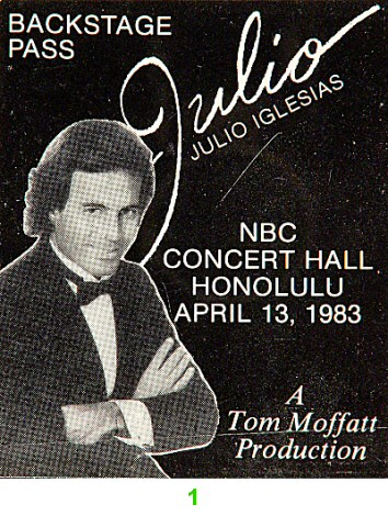 Julio Iglesias Backstage Pass