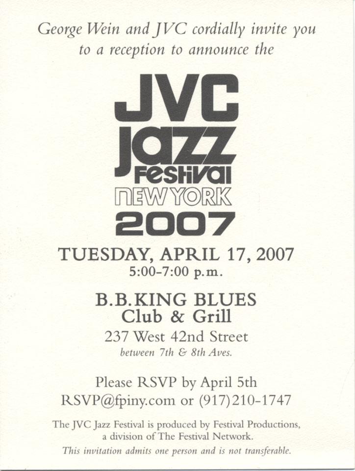 JVC Jazz Festival Invite Handbill