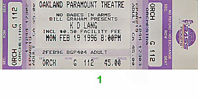 k.d. lang1990s Ticket