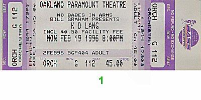 k.d. lang1990s Ticket