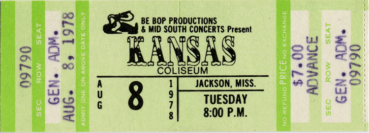 Kansas 1970s Ticket