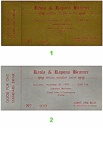 Keola and Kapono Beamer 1970s Ticket