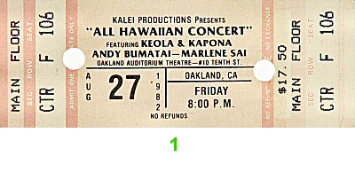 Keola and Kapono Beamer 1980s Ticket