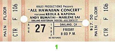 Keola and Kapono Beamer1980s Ticket