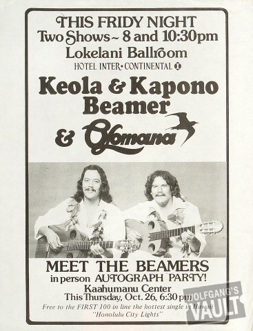 Keola and Kapono Beamer Handbill