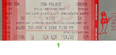 Kiss 1980s Ticket