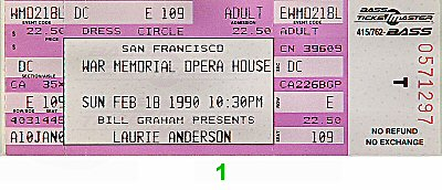 Laurie Anderson 1990s Ticket
