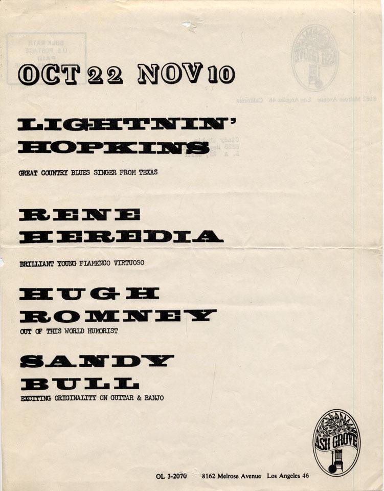 Lightnin' Hopkins Handbill
