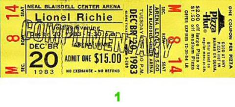 Lionel Richie Vintage Ticket