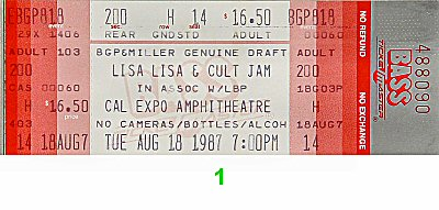 Lisa Lisa and the Cult Jam 1980s Ticket