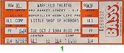 Little Shop of Horrors1980s Ticket