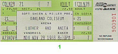 Luther Vandross 1980s Ticket