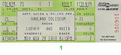 Luther Vandross1980s Ticket