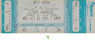 Luther Vandross 1990s Ticket