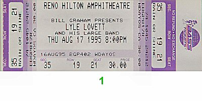 Lyle Lovett & His Large Band1990s Ticket