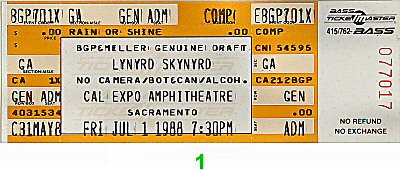 Lynyrd Skynyrd1980s Ticket