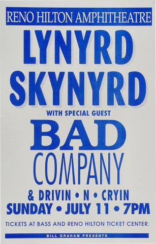 lynyrd skynyrd poster reno hilton amphitheatre reno nv jul 11 1993. Black Bedroom Furniture Sets. Home Design Ideas