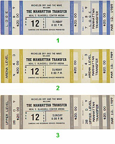 Manhattan Transfer1980s Ticket