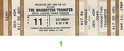 Manhattan Transfer 1980s Ticket