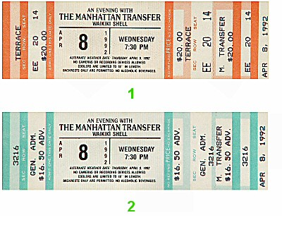 Manhattan Transfer 1990s Ticket
