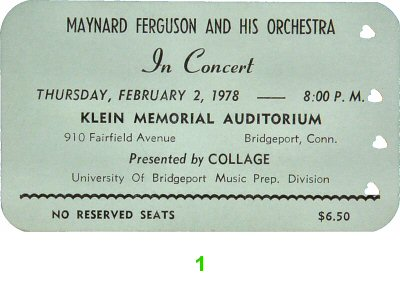 Maynard Ferguson &amp; Orchestra1970s Ticket