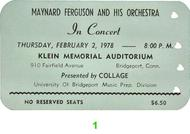 Maynard Ferguson &amp; Orchestra 1970s Ticket