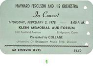 Maynard Ferguson & Orchestra 1970s Ticket