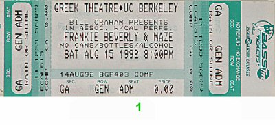 Maze Featuring Frankie Beverly 1990s Ticket