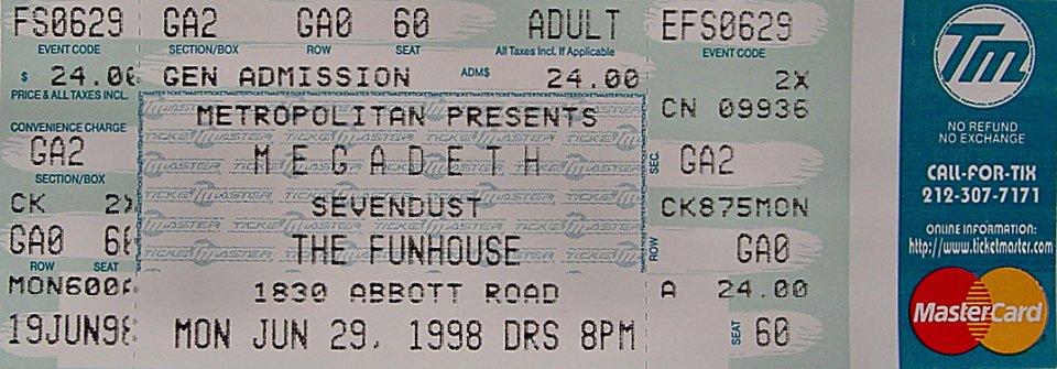 Ticket Megadeth Megadeth Vintage Ticket
