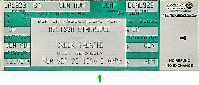 Melissa Etheridge 1990s Ticket