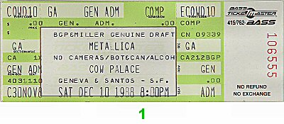 Metallica1980s Ticket
