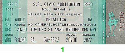 Metallica1980s Ticket
