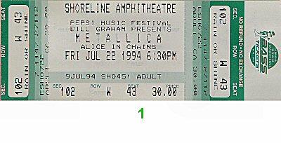 Metallica1990s Ticket