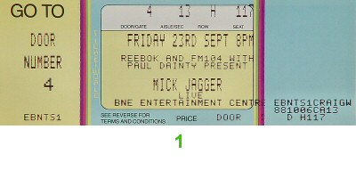 Mick Jagger 1980s Ticket